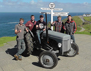 The Grey Fergie Challenge team reach Lands End ready for the long drive to John O'Groats.