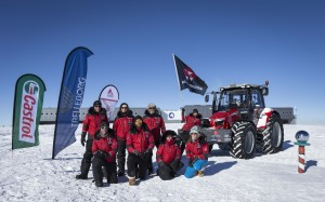 There were emotional celebrations for the Antarctica2 expedition team members when they arrived at the South Pole with their MF 5610 tractor on 9 December 2014.