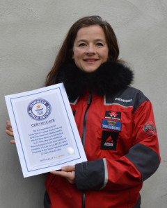 Manon Ossevoort, AKA Tractor Girl, is proud to receive her Guinness Book of World Records Certificate confirming Antarctica2 as the first expedition to the South Pole in a wheeled tractor
