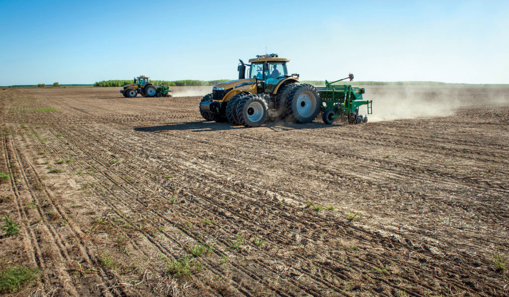 The Berry family uses several Challenger tractors, like this MT665D, to grow rice in the Mississippi Delta.