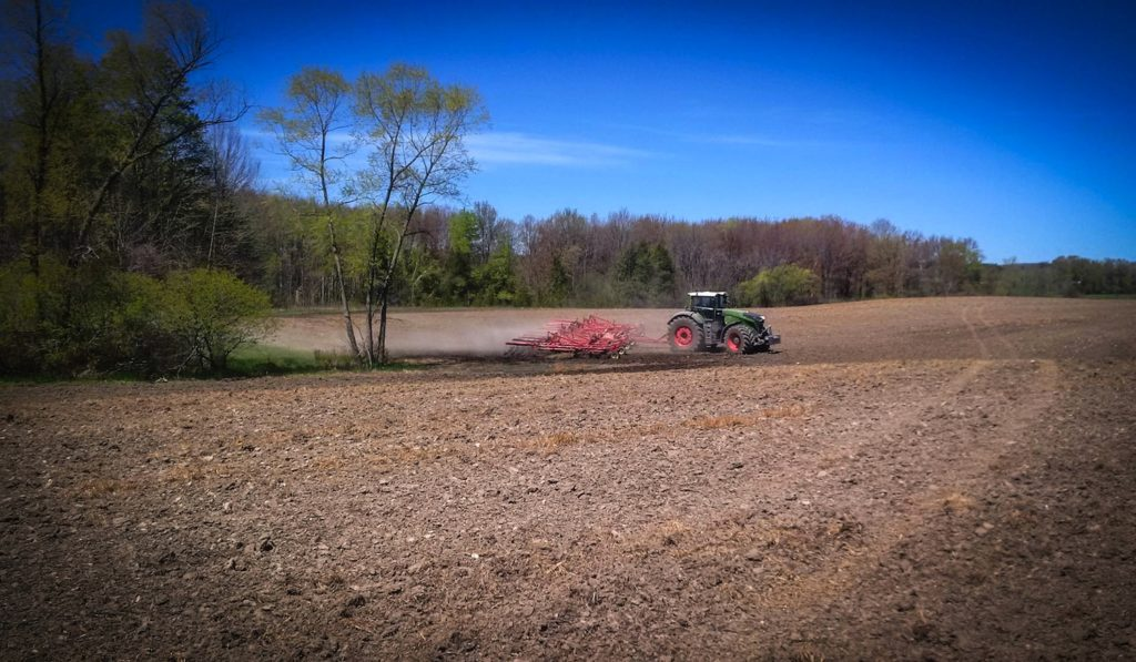 Fendt tractor at work in the fields.