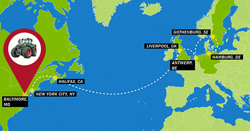 The 1000 Fendt 1000's journey across the Atlantic to Baltimore, Maryland.