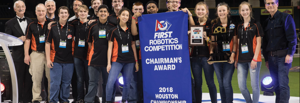 Kell Robotics team with their Chairman's Award at the FIRST Robotics Competition in Houston