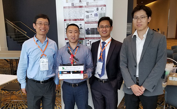 From L: Dr. Charlie Li (advisor) and University of Georgia graduate students Yu Jiang, Shangpeng Sun and Rui Xu