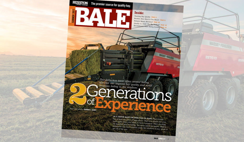 Cover of the Summer 2017 issue of BALE magazine with hay baler image.