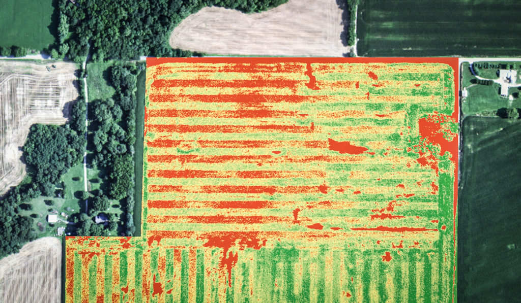 Aerial photo of a farm that shows the NDVI multispectral data.