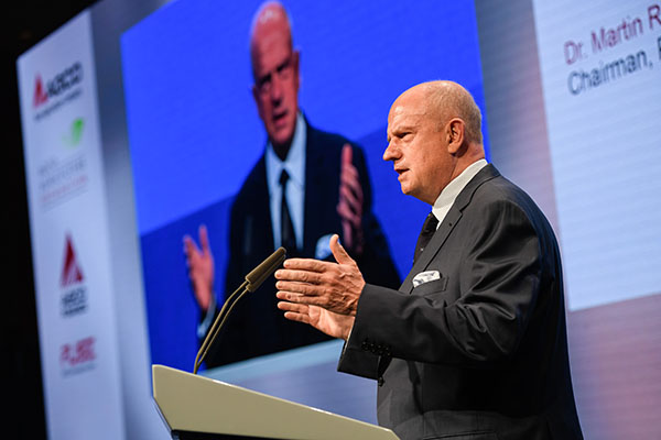 AGCO Chairman, President and CEO Martin Richenhagen speaking at the 2019 AGCO Berlin Summit