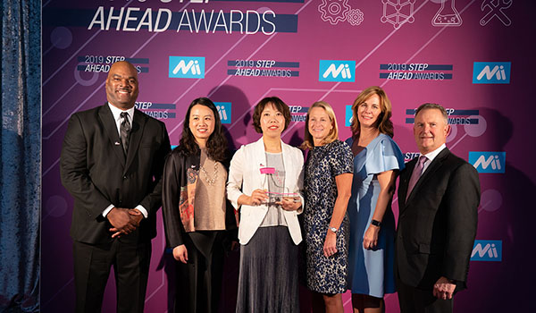 From L: Director, HR Talent Management, Diversity & Inclusion Eric Haggard; Senior Manager, Talent Management APA Jessie He; Manager, Production, AGCO Power Jane Song; SVP, Global Business Services Lucinda Smith; VP, HR, APA and Global Programs Lauri Lipka; SVP, General Manager, APA Gary Collar. Photo by David Bohrer/National Association of Manufacturers