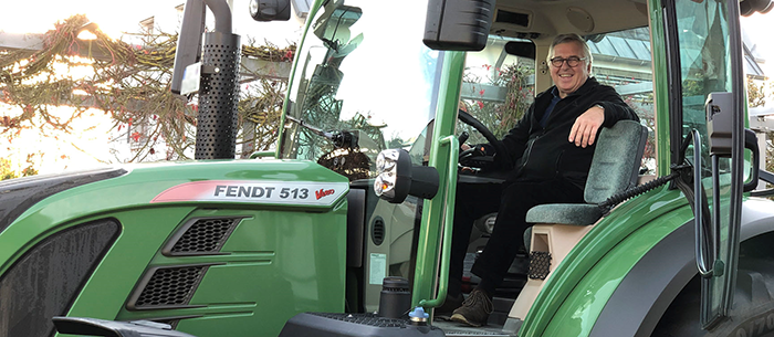 Mr. Norbert Stadler in one of his Fendt tractors at his vineyard in the Alsace region of France